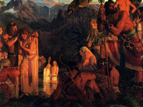 alma baptizes at the waters of mormon