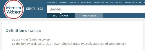 Webster's Definition of Gender