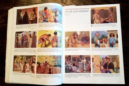 The Book of Mormon illustrated stories for children -- the page where the Lamanites become a dark-skinned people.