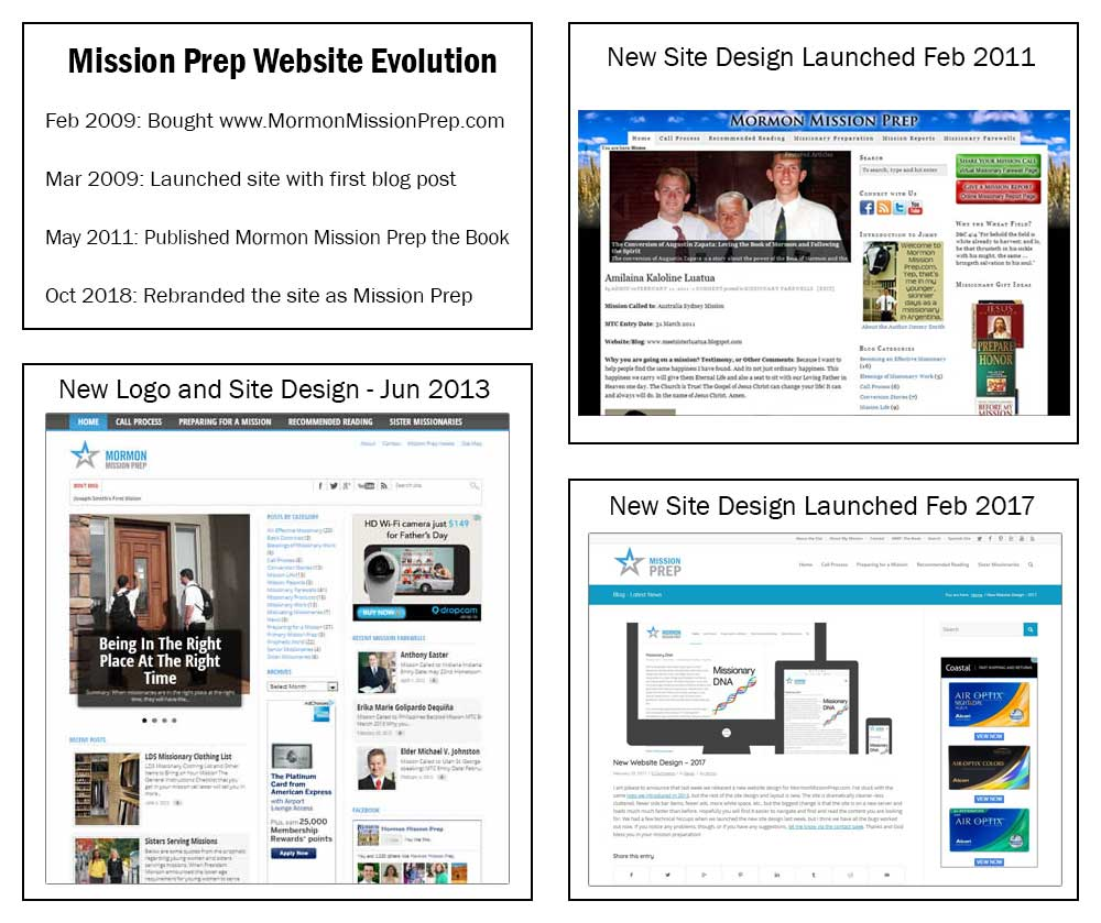 10 years of mission prep site design evolution